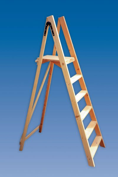 contractors wooden platform step ladders