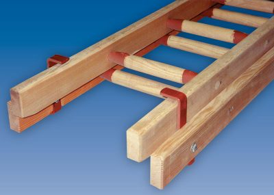 Double section wooden ladders