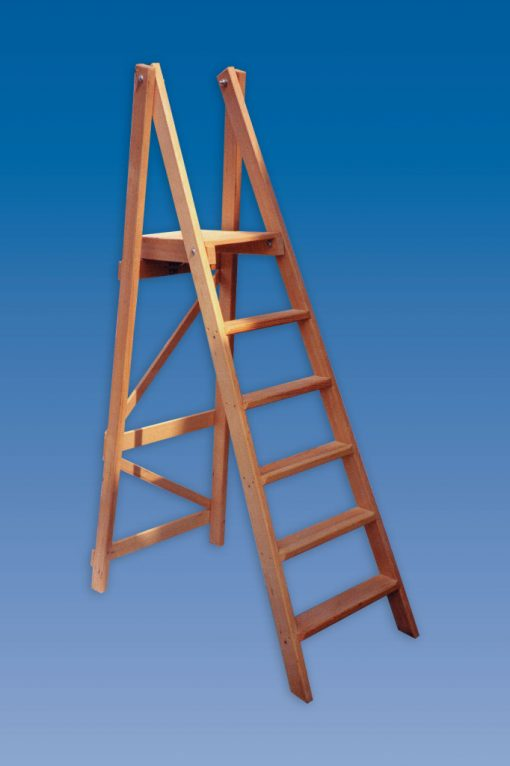 industrial wooden platform steps ladders