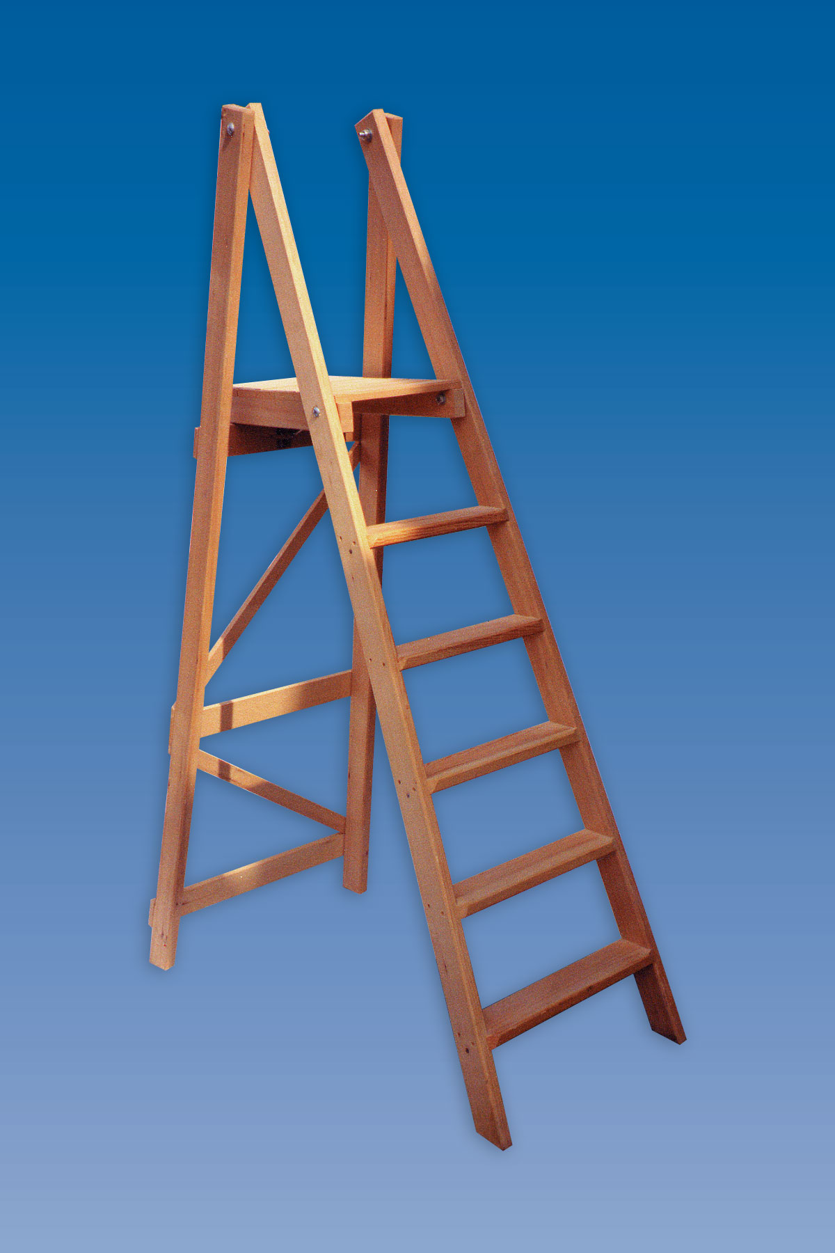 Timber Industrial Platform Wooden Step Ladders