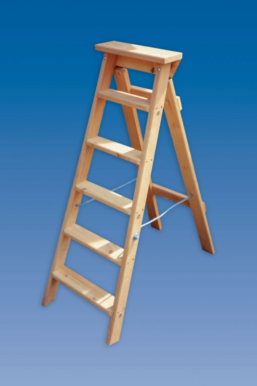 Industrial swingback wooden step ladders