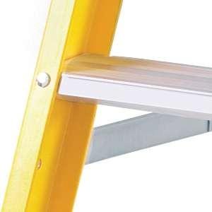 Non-conductive fibre glass stiles on step ladder