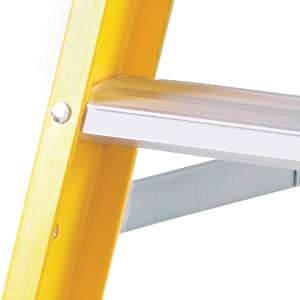 Non-conductive fibre glass stiles on step ladder