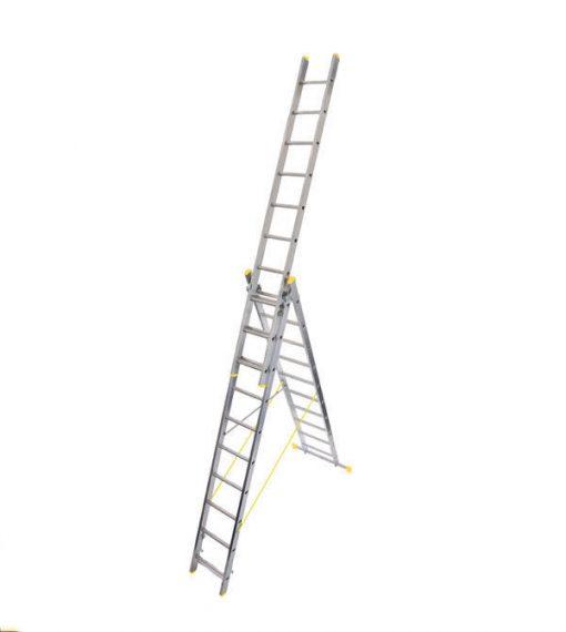 Werner Triple Box Section Aluminium Reform Ladder free standing