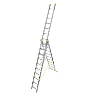 Werner Triple Box Section Aluminium Reform Ladder free standing