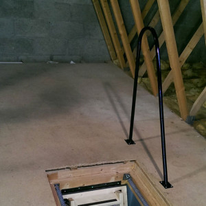 Black grabrail for attic trap doors. Optional extra with the Skylark Electric Loft Stairs