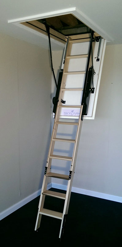Skylark electric loft stairs in open position