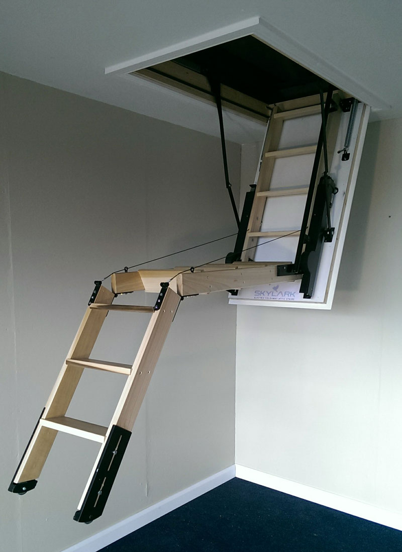 Skylark electric loft ladder hulley ladders Motorized attic stairs